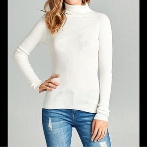 GAP Classic White Ribbed Turtleneck